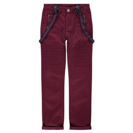 Júnior - Pantalón de sarga con cortes y tirantes desmontables