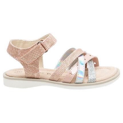 Sandalias con tiras texturizadas brillantes y con lentejuelas de la 24 a la 29