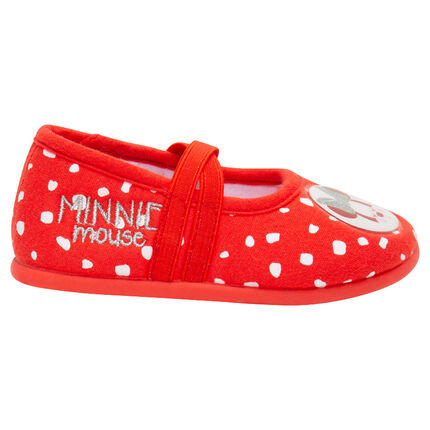 Zapatillas bajas de terciopelo con lunares all over