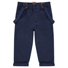 Pantalón de sarga con tirantes elásticos extraíbles