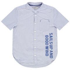 Camisa de manga corta con rayas finas y cuello mao