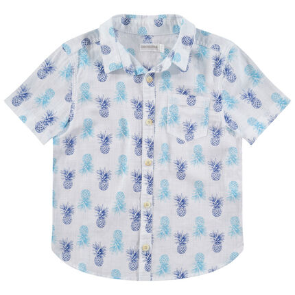 Camisa de manga corta con piñas estampadas all over