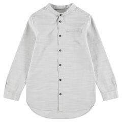 Camisa de manga larga de algodón jaspeado con cuello mao