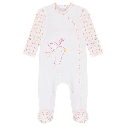 Pijama de punto con mangas estampadas y estampado de pájaro