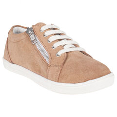 Zapatillas de deporte de caña baja con cordones de piel serraje con cremallera con fantasía