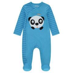 Pijama de punto a rayas con panda en relieve