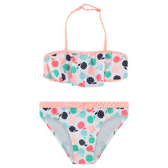 Bikini con parte superior con volantes y manzanas estampadas