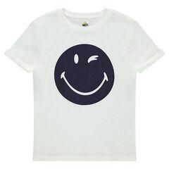 Júnior - Camiseta de manga corta de punto jaspeado con estampado ©Smiley