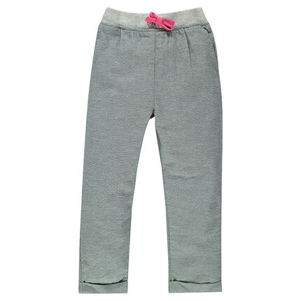 Pantalón corte loose-fit de algodón con fantasía