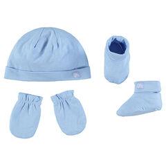 Conjunto de gorro liso, manoplas y calcetines de punto