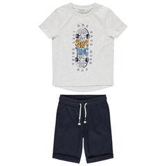 Conjunto con camiseta con estampado de skateboard y bermuda lisa