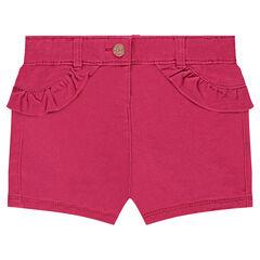 Pantalón corto de sarga con aplicaciones de volantes