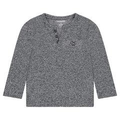 Júnior - Camiseta de manga larga de punto asargado con logo bordado