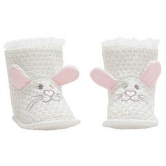 Patucos de punto de fantasía con orejas de conejo de relieve y bordados