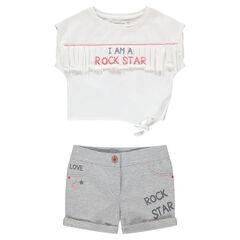 Conjunto con camiseta de flecos y pantalón corto de punto estampado