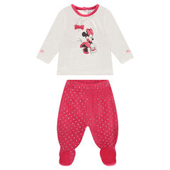 Pijama de terciopelo bicolor Diney con estampado Minnie