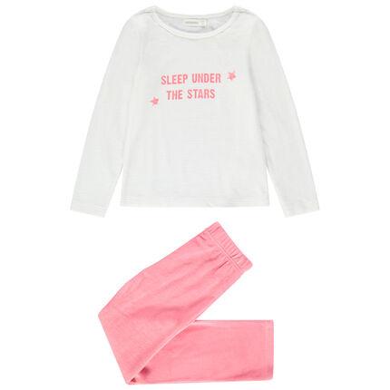 Pijama de terciopelo con mensaje estampado y pantalón liso rosa
