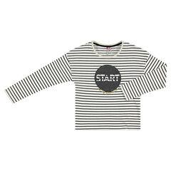Camiseta de manga larga a rayas con estampado brillante por delante