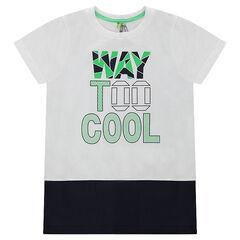 Camiseta de manga corta bicolor con inscripción estampada