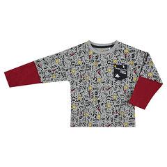 Camiseta de manga larga con efecto 2 en 1 y estampado ©Smiley