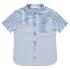 Júnior - Camisa de manga corta de rayas y bolsillo