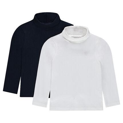 Juego de 2 camisetas lisas de algodón y cuello alto