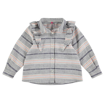 Camisa de manga larga con rayas de jacquard y volantes