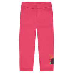 Legging a media pierna rosa con flores bordadas