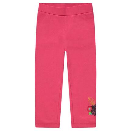 Legging a media pierna rosa con flores bordadas