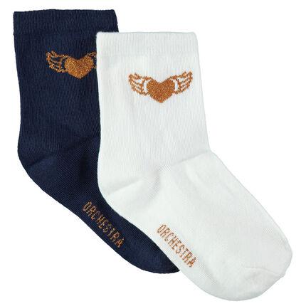 Júnior - Juego de 2 pares de calcetines lisos de jacquard dorado