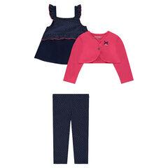 Conjunto de 3 piezas con túnica con volante, bolero y legging de lunares