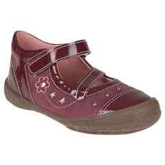 Zapatos merceditas brillante de color ciruela con remache