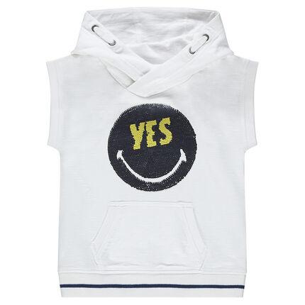 Camiseta de manga corta de felpa con ©Smiley de lentejuelas mágicas