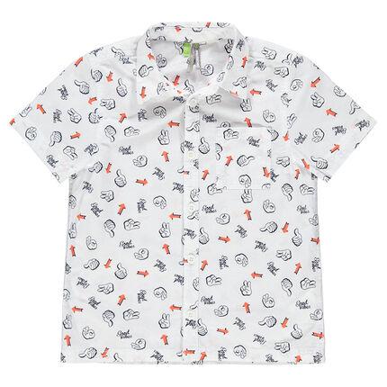Camisa de manga corta con estampados all-over y bolsillo