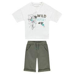 Júnior - Conjunto de camiseta con estampado de leopardo y bermudas de felpa