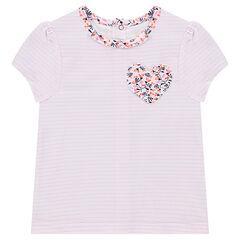 Camiseta de manga corta a rayas con bolsillo de flores en forma de corazón
