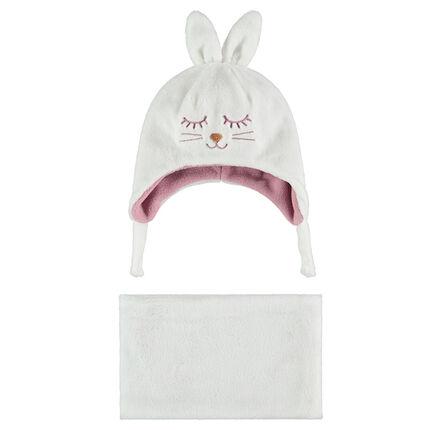 Conjunto de gorro con orejas de conejo en relieve y bufanda de borreguito