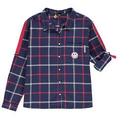Júnior - Camisa de manga larga a cuadros con parche Smiley