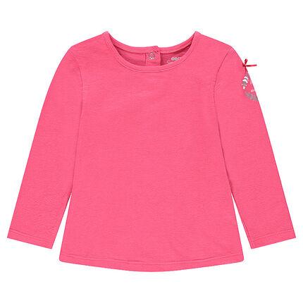 Camiseta de manga larga rosa con estampado y lazo