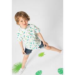 Camisa de manga corta de algodón de fantasía con hojas estampadas