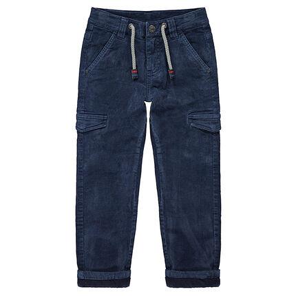 Pantalón de pana con forro de punto y bolsillos con solapa