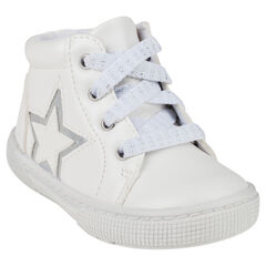 Botas bajas con cordones de color blanco con cremallera con detalle de estrella