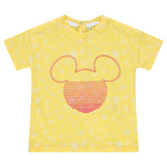 Camiseta de manga corta de punto con estampado all over y estampado de Mickey ©Disney