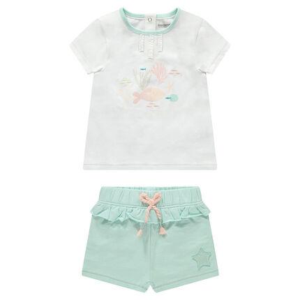 Conjunto con camiseta y estampado de pez con pantalón corto con volantes