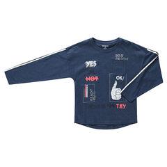 Júnior - Camiseta de punto jaspeado de manga larga con bolsillo y estampados de colores