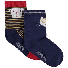Juego de 2 pares de calcetines con dibujo de perro y gato de jacquard