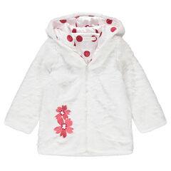 Chaqueta con capucha con forro y flores bordadas