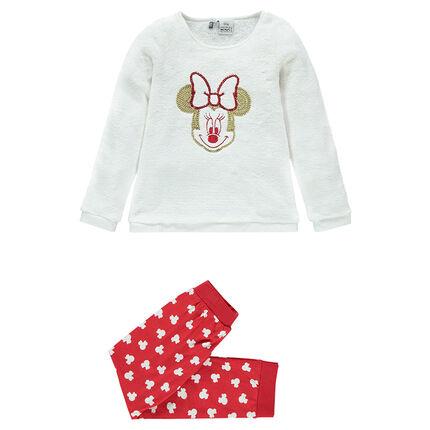 Pijama de tela sherpa y de tejido de punto con lentejuelas con estampado Minnie Disney