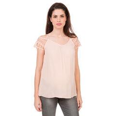 Camiseta premamá de encaje con hombros descubiertos