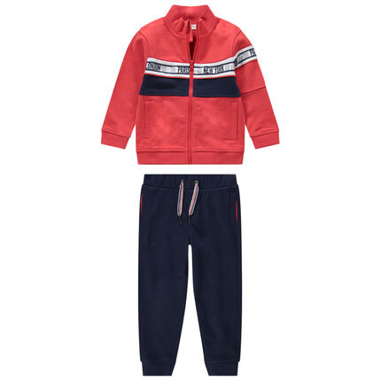 Chándal bicolor con chaqueta con cremallera y pantalón de felpa liso